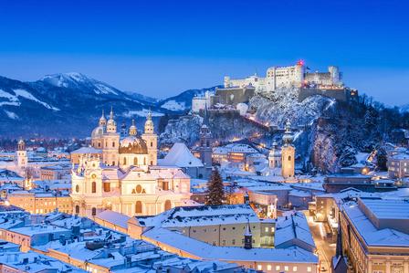 city of Salzburg with Festung Hohensalzburg in winter, Salzburger Land, Austria