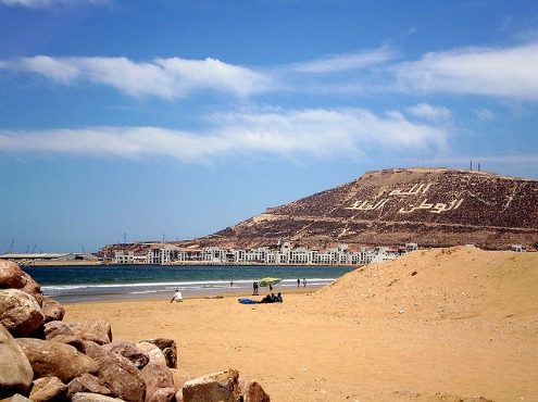 Relax on the golden beaches in Agadir, Morocco