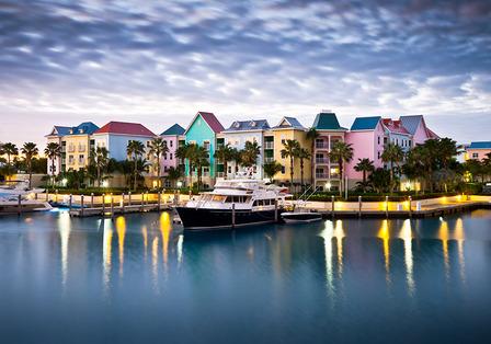 Bahamas marina and pastel houses