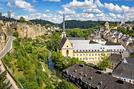 Sunny summer day in beautiful town Luxembourg, the capital city of the European country Luxembourg