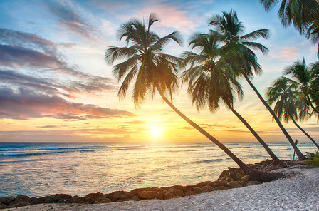 Barbados beach and sunset
