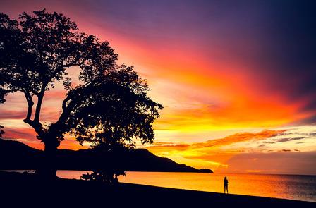 COSTA-RICA Pura Vida. Sunset in Coco beach, Guanacaste, Costa Rica, Central America. Travel Concept