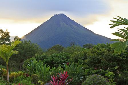 Costa Rica San Jose rainforest and volcano