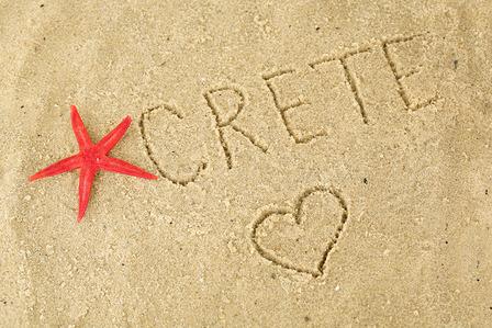 Crete inscription in the sand