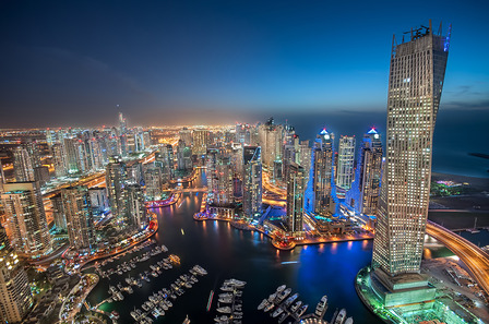 Dubai City Marina at night time