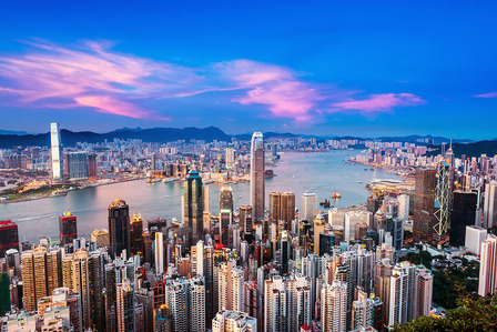 Hong Kong City in the sunset