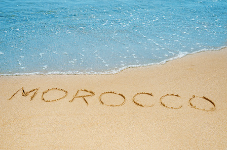 Morocco written in the sand