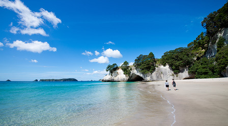 NEW-ZEALAND Cathedral Cove marine reserve on the Coromandel Peninsula in New Zealand