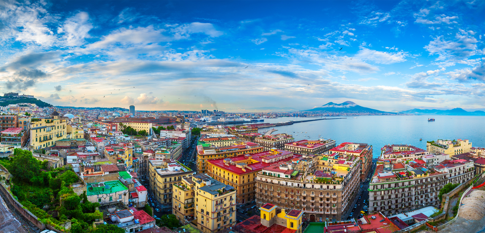 Panorama of the port in the gulf of Naples