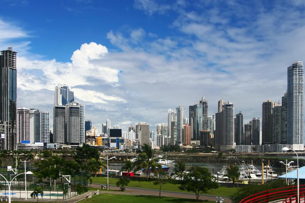The modern skyline of Panama Canal