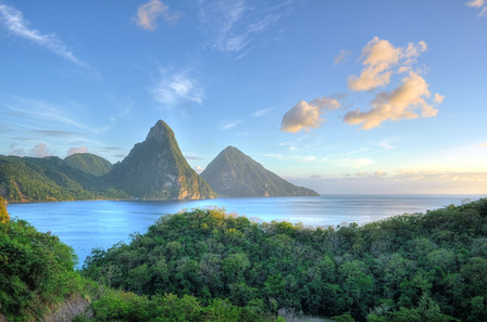 ST LUCIA Panorama of Pitons at Saint Lucia, Caribbean