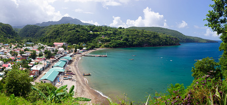 ST.LUCIA Panorama of Anse La Raye bay in St. Lucia