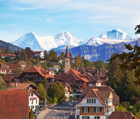 SWITZERLAND Oberhofen village on the lake Thun, Switzerland
