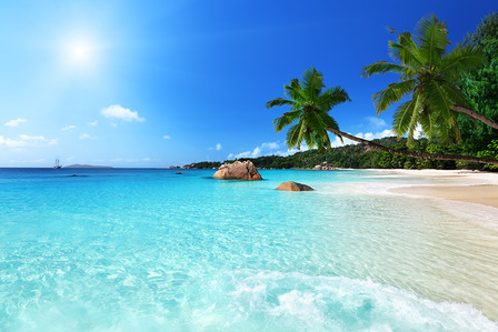 SEYCHELLES Anse Lazio beach at Praslin island, Seychelles