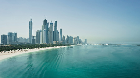 Dubai sea and city