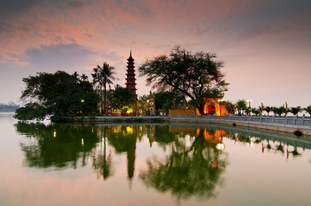 VIETNAM Tran Quoc pagoda in sunset
