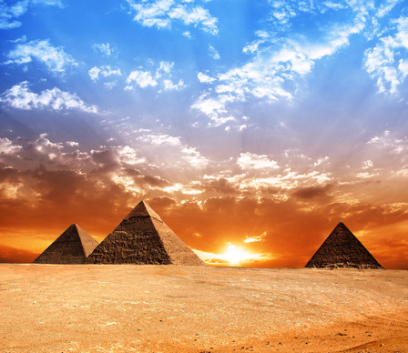 egyptian pyramids sunset