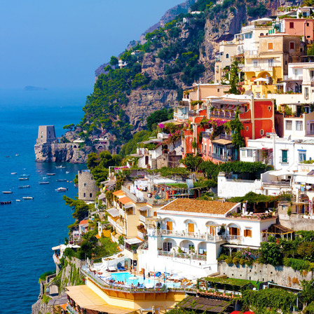 Naples Italy Mountains curved bay