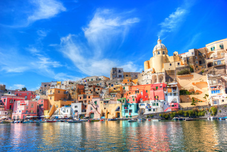 Naples Italy coloured buildings on the mountain